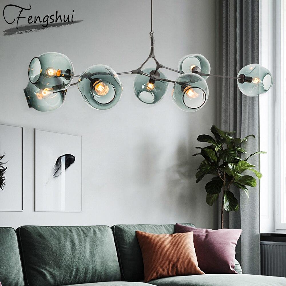 현대 유리 샹들리에 다 이닝 룸 침실 광택 간단한 공 샹들리에 조명 주방 설비 Luminaire 교수형 램프