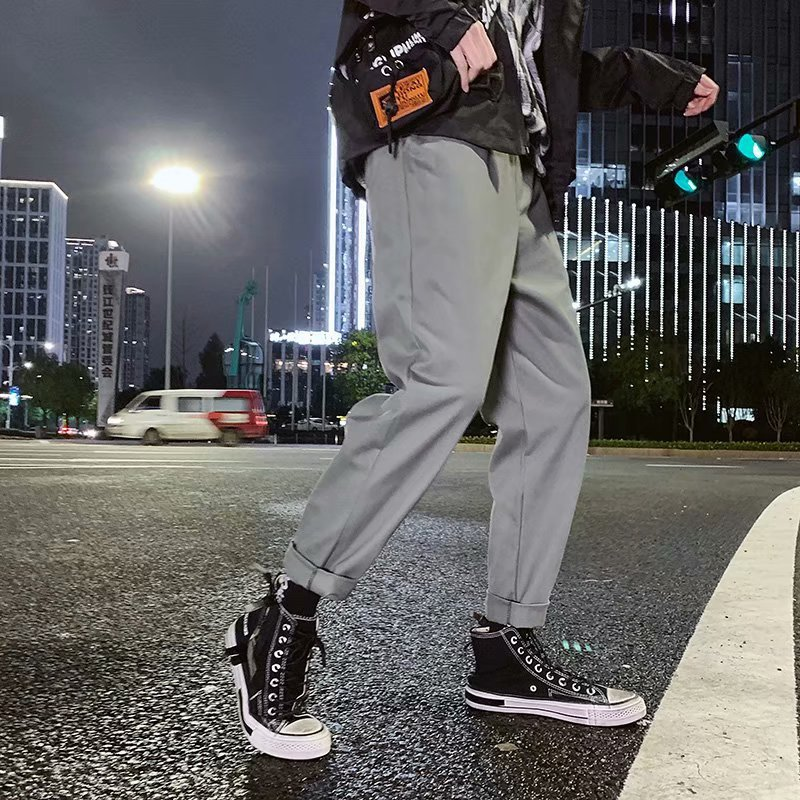 2019 Spring And Autumn Bib Overall New Style Casual Pants Men Loose-Fit Workwear Ankle Banded Pants Korean-style Solid Color Men