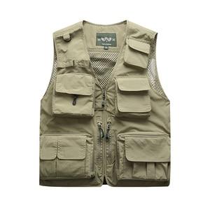 Image 4 - Outdoor Mens Tactical Fishing Vest jacket man Safari Jacket Multi Pockets Sleeveless travel Jackets 5XL 6XL 7XL, 7898m