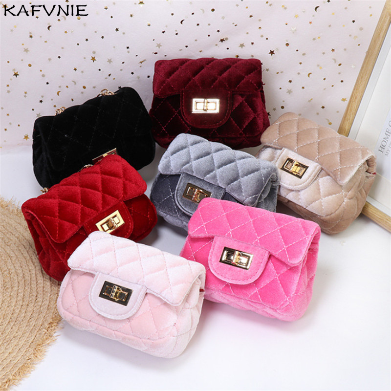 Mini 12cm Children Shoulder Bag Hot Pink Velvet HandBag High End PU Party Kid Evening Party Purse Popular Winter Children's Bag