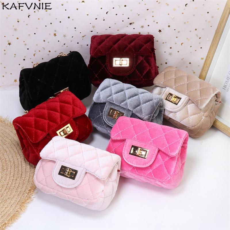 Mini 12cm Children Shoulder Bag Hot Pink Velvet HandBag High End PU Party Kid Evening Party Purse Popular Winter Children's Bag