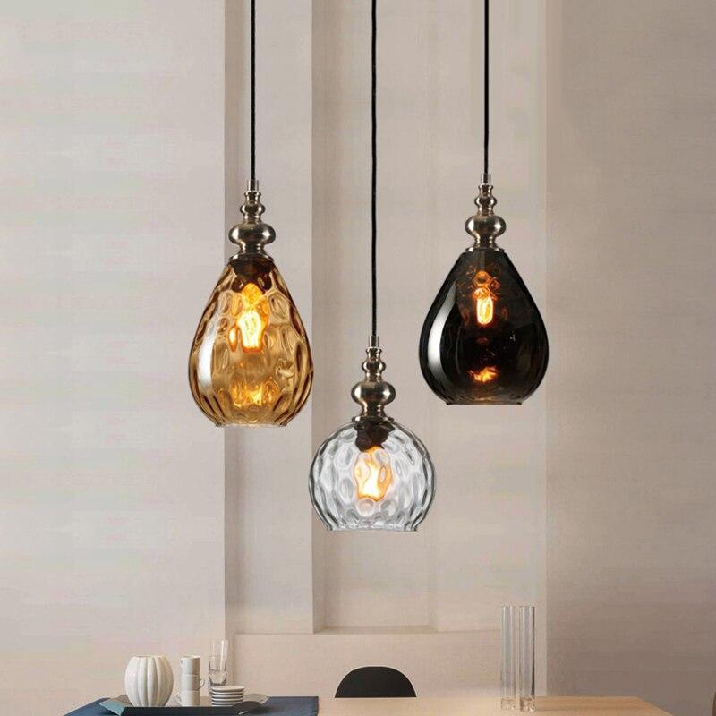 Nordic Vintage Loft Art Deco Glass Cucurbit Pendant Light LED E27 Hanging Lamp For Bedroom Restaurant Living Room Kitchen Hotel