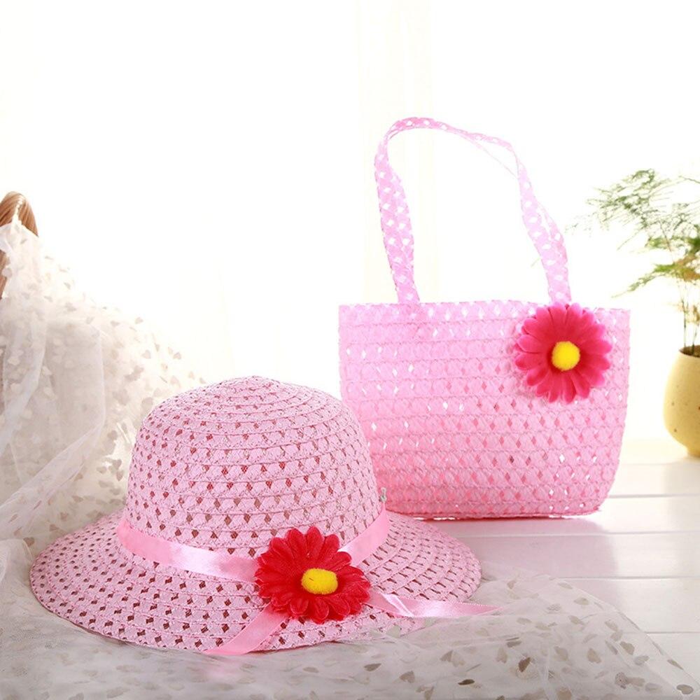 Lovely Summer Sun Hat Girls Kids Straw Cap Beach Flower Hats Handbag Totes