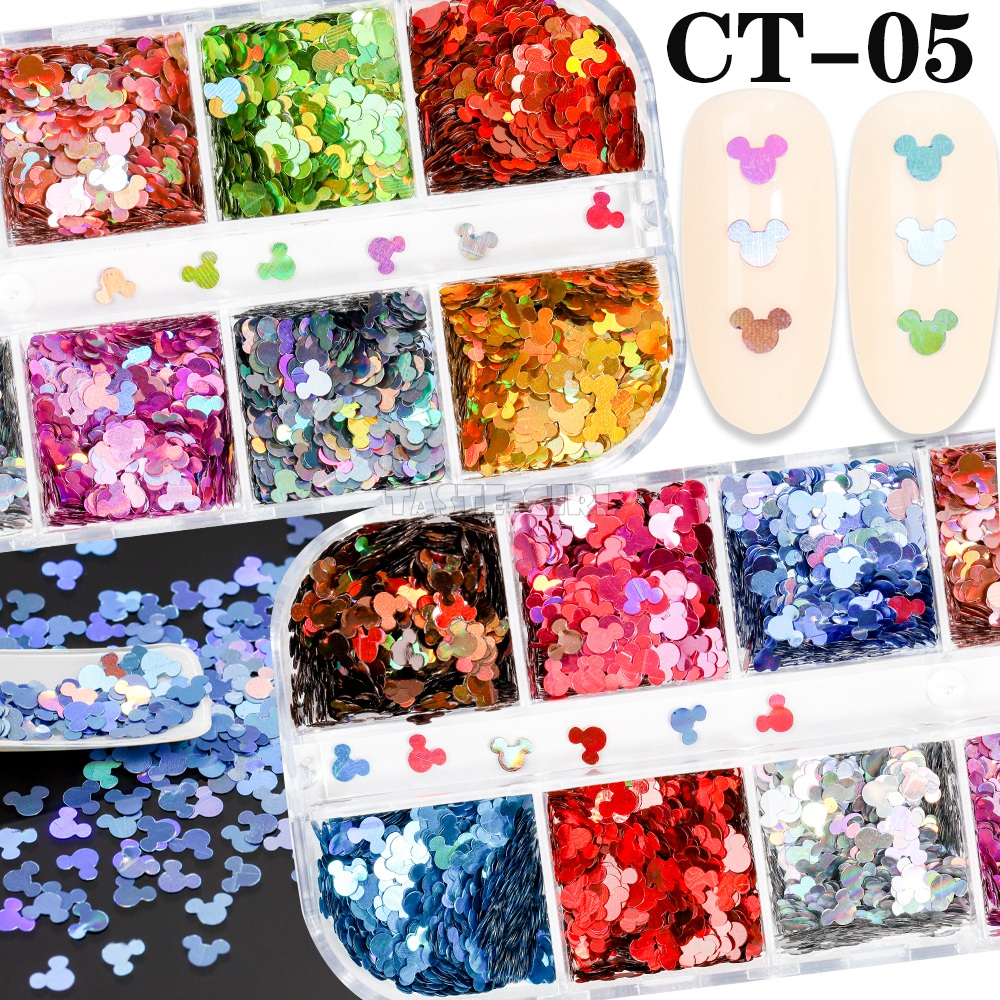 12 Grids/Set Nail Glitter Mice Sequins Laser Hexagon Sequins Various Shell Xmas Nail Art Slice Decoration Manicure Set