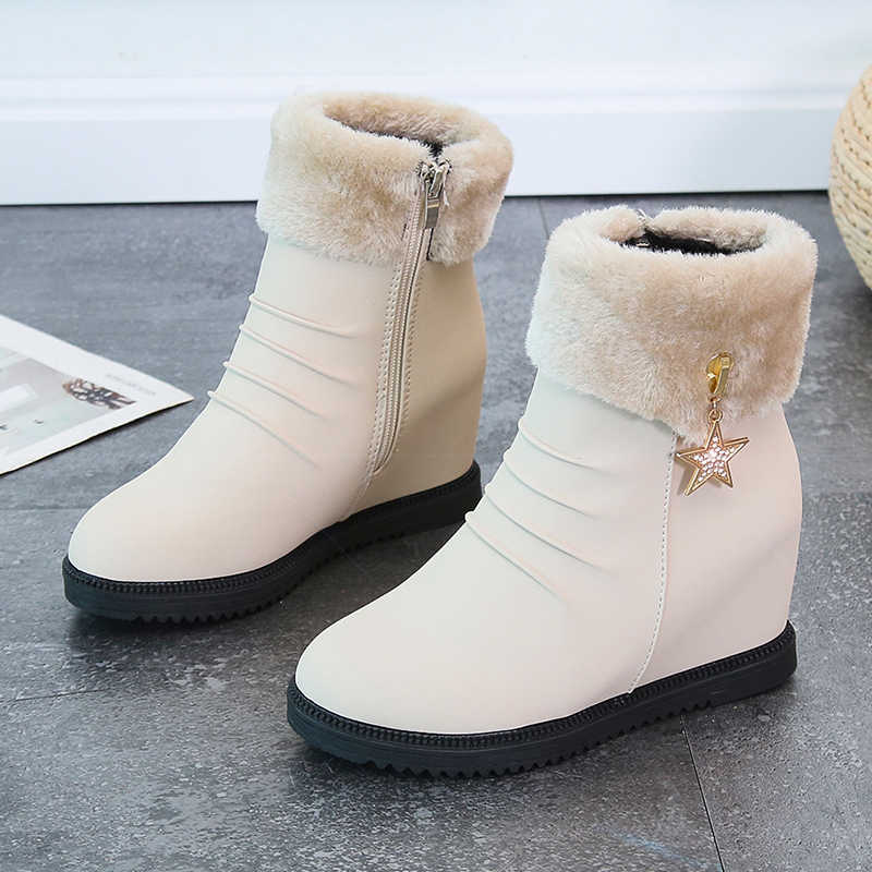 2019 kış taklit kürk moda takozlar topuklar kadın ayakkabı kadın çizmeler platformu sıcak kar lüks Femme bayan botları beyaz yeni