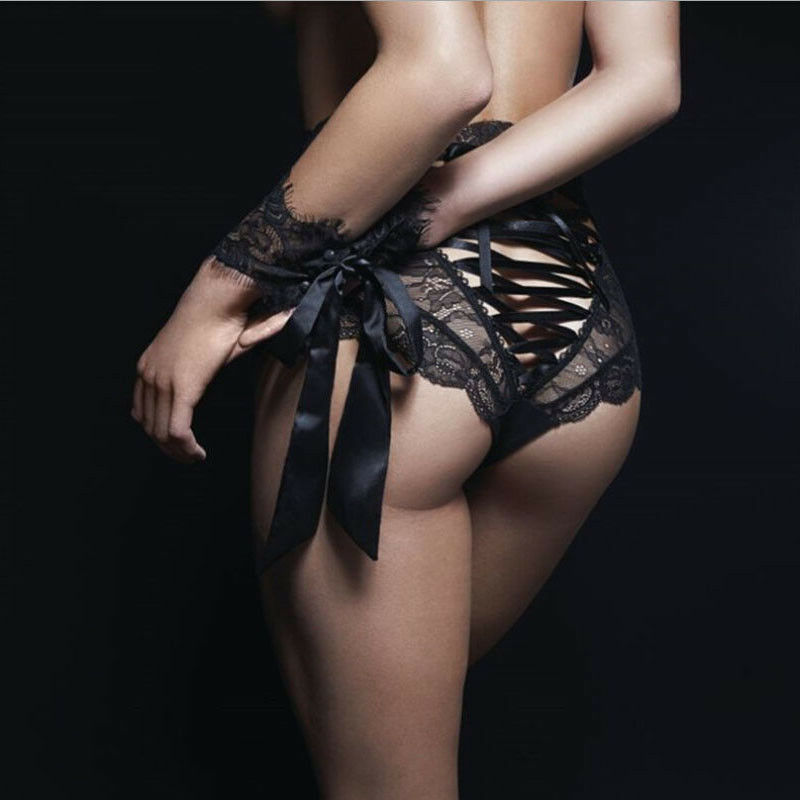 Sıcak Hollow Out katı yüksek bel İç çamaşırı Knickers kadın dantel kravat tanga iç çamaşırı seksi dantel G-string külot külot