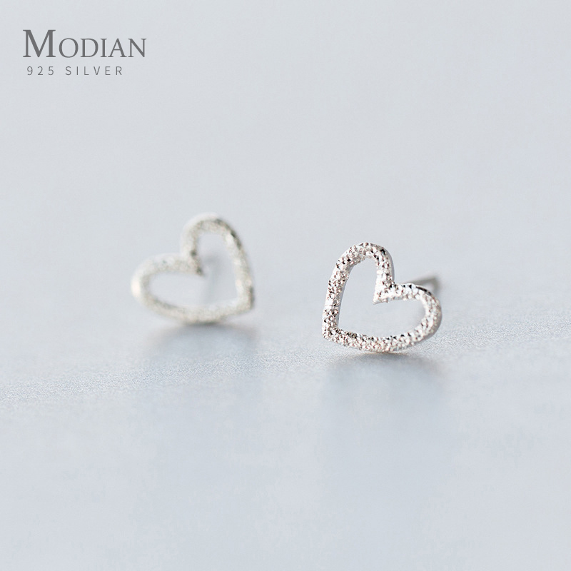 Modian Vintage Cute Heart Stud Earrings Classic Fashion 925 Sterling Silver Simple Lover Girl And Women Charm Fine Jewelry