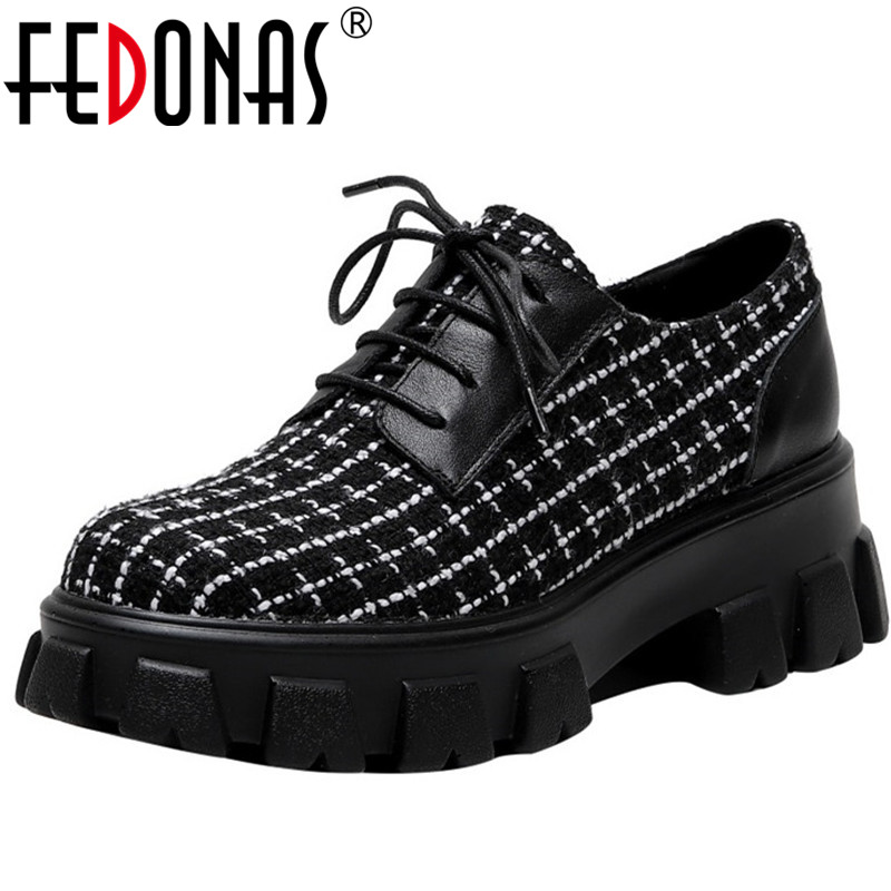 FEDONAS Brand Design  Genuine Leather Women Shoes Spring Summer Color Mixing Round Toe Square Heeled Cross-Tied Shoes Woman