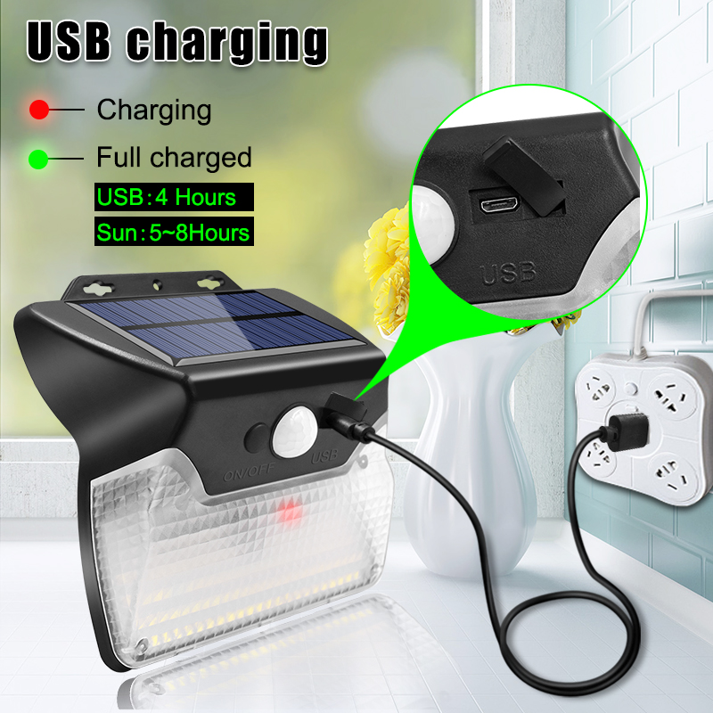 Solar and USB Powered Outdoor Light with 110 LEDs in 3 Lighting Modes and 90 to 120 Degree Sensor Angle 3