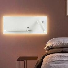 ZEROUNO LED lampka do sypialni czytanie podświetlana ładowarka USB kinkiet nocna LED oświetlenie bezprzewodowa ładowarka do telefonu funkcjonalne kinkiety