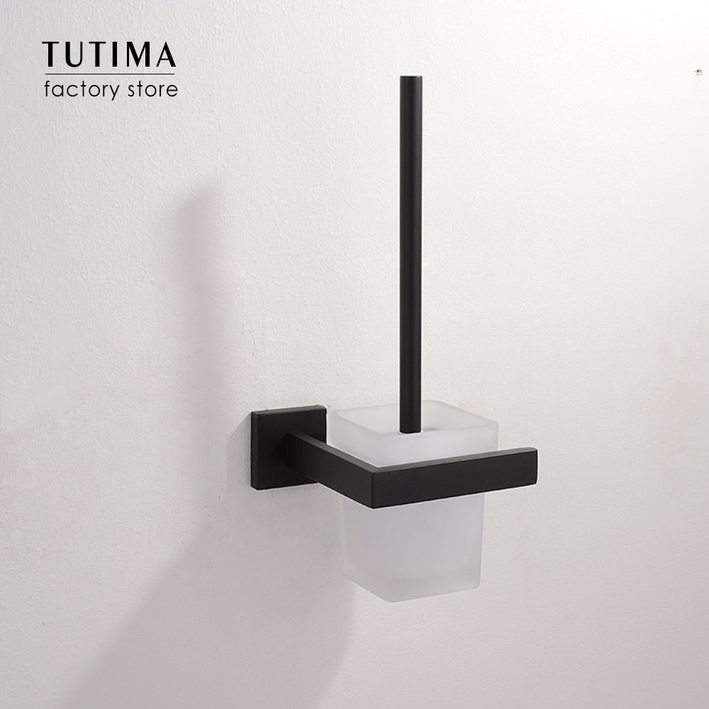 Tutima Square Bathroom Toilet Brush With Holder Glass Cup Wall Mount Contemporary Style Toilet Brush Matte Black Bathroom Access