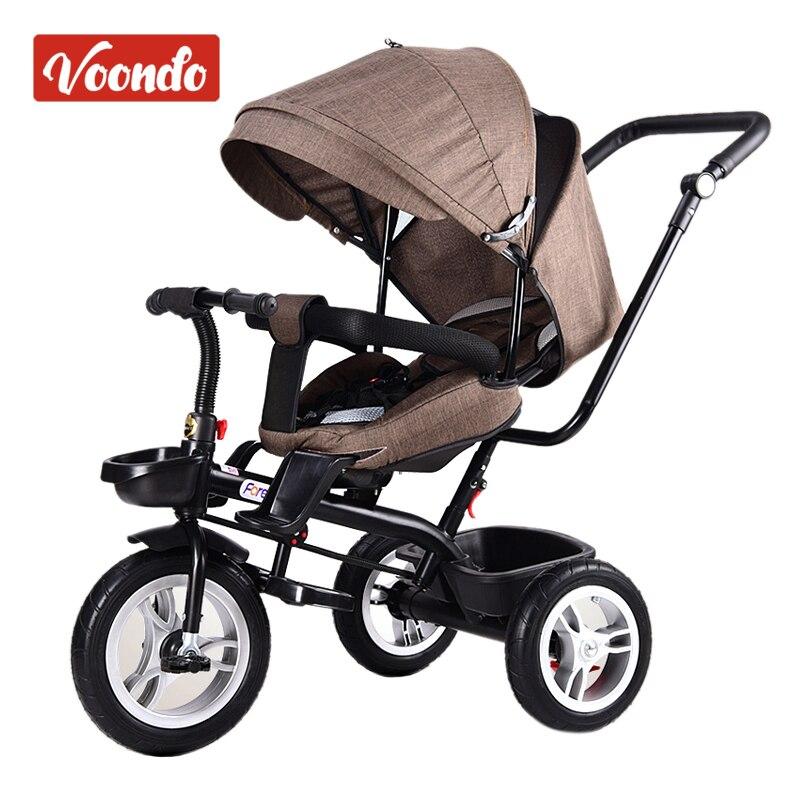 Детские тележки детские велосипед детский трехколесный велосипед вращающийся сиденье с ручной толчок складные велосипед ребенка 1 3 5 велосипед