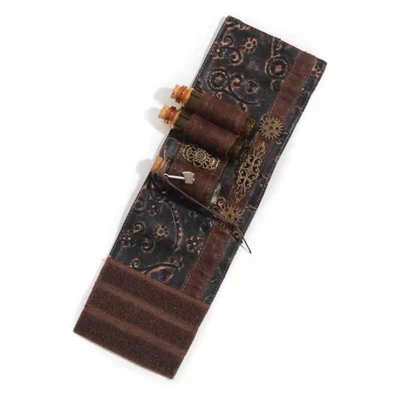 Gothic Steampunk Bracers Vintage Brown PU Leather Cool  Arm Band Wristband Sleeve Gearwheel Punk Style Accessories Hot Sales