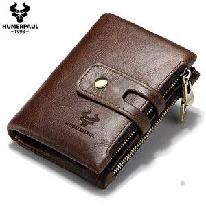 Image 1 - HUMERPAUL Genuine Leather Men Wallet Coin Purse Small Mini rfid Card Holder PORTFOLIO Portomonee Male Pocket Hot Sale