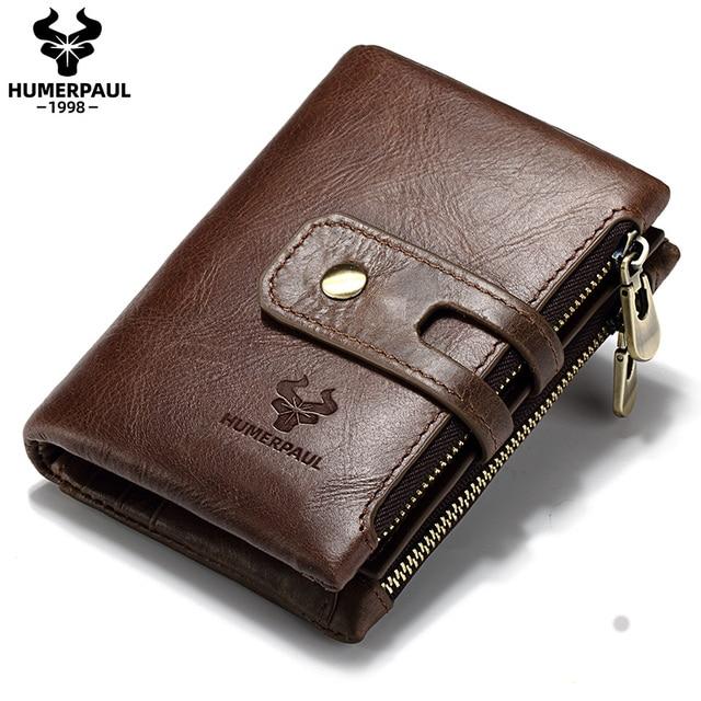 HUMERPAUL Genuine Leather Men Wallet Coin Purse Small Mini rfid Card Holder PORTFOLIO Portomonee Male Pocket Hot Sale