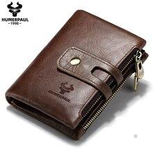 Мужской кошелек HUMERPAUL из натуральной кожи, маленький бумажник с монетницей, кредитница с rfid защитой, мужское портмоне с карманами