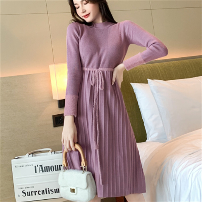 Fashion Autumn Sweater Dress Korean Woman Knitted Dresses Women High Waist Sweater Dress Plus Size Lady Pleated Sweaters Dresses
