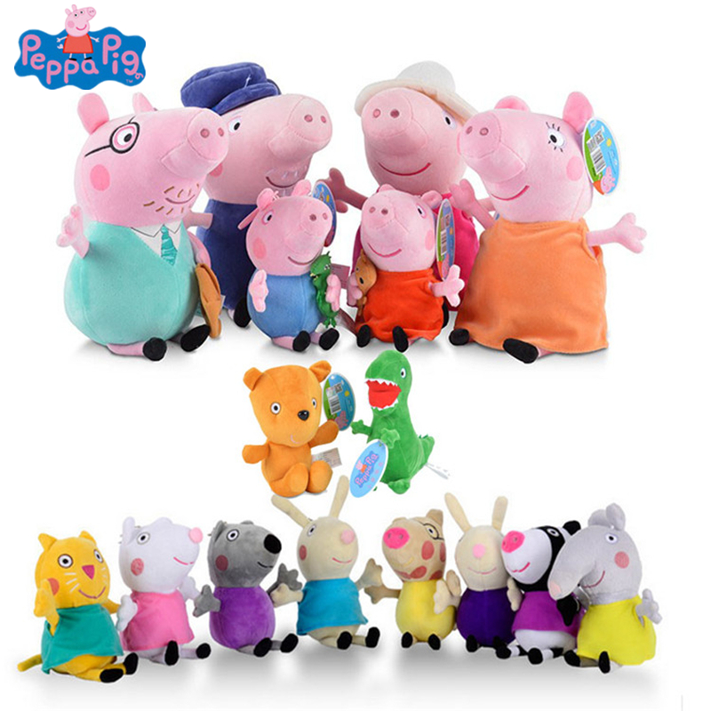 Peppa Pig George Friend Stuffed Plush Toy 19/30cm Peppa Pig Family Party Dolls Christmas New Year Gift For Girl Original