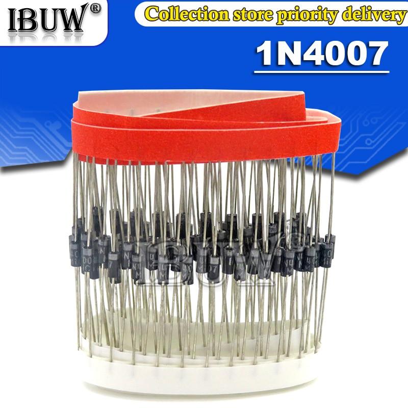 100 шт. 1N4007 4007 1A 1000V DO-41 высококачественный выпрямительный диод IN4007 1n4007