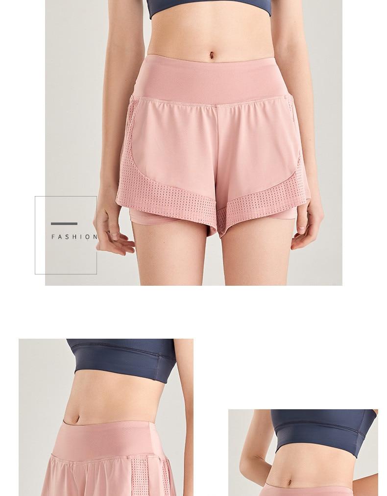 Shorts Women Workout Shorts High Waisted Running Shorts Double Layer Quick-drying Athletic Yoga Shorts Fitness Shorts (10)