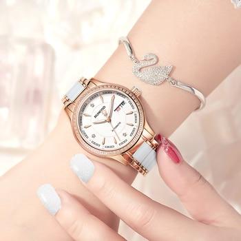 RUNOSDLadies Watch Luxury Rose Gold Zircon Day Calendar miyota Mechanical Movement Sapphire Crystal Stainless Steel 8157LS 5