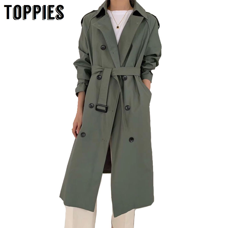 Toppies Trench Coat 2020 Spring Women Double Brasted Windbreaker Korean Woman Long Coat Streetwear