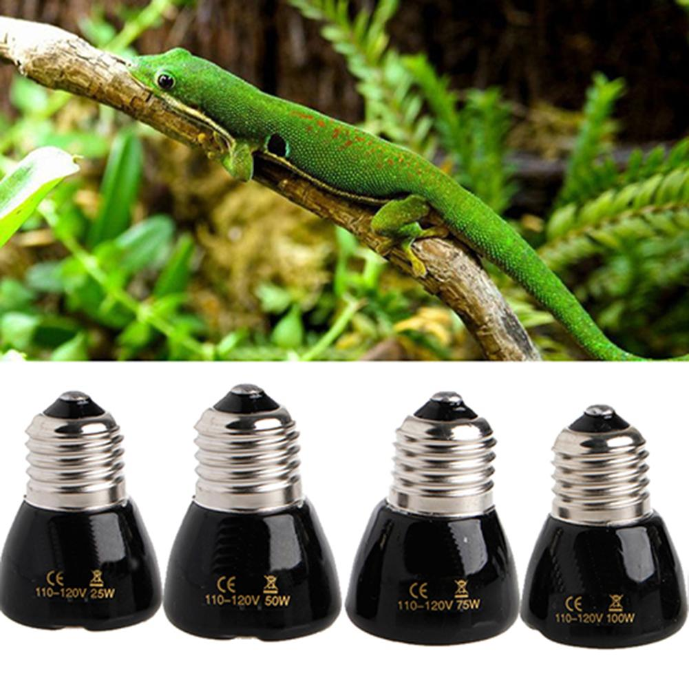 1PC 75/100W E27 Pet Heating Lamp Black Infrared Ceramic Emitter Heat Light Bulb Pet Brooder Chickens Reptile Lamp 110V-120V