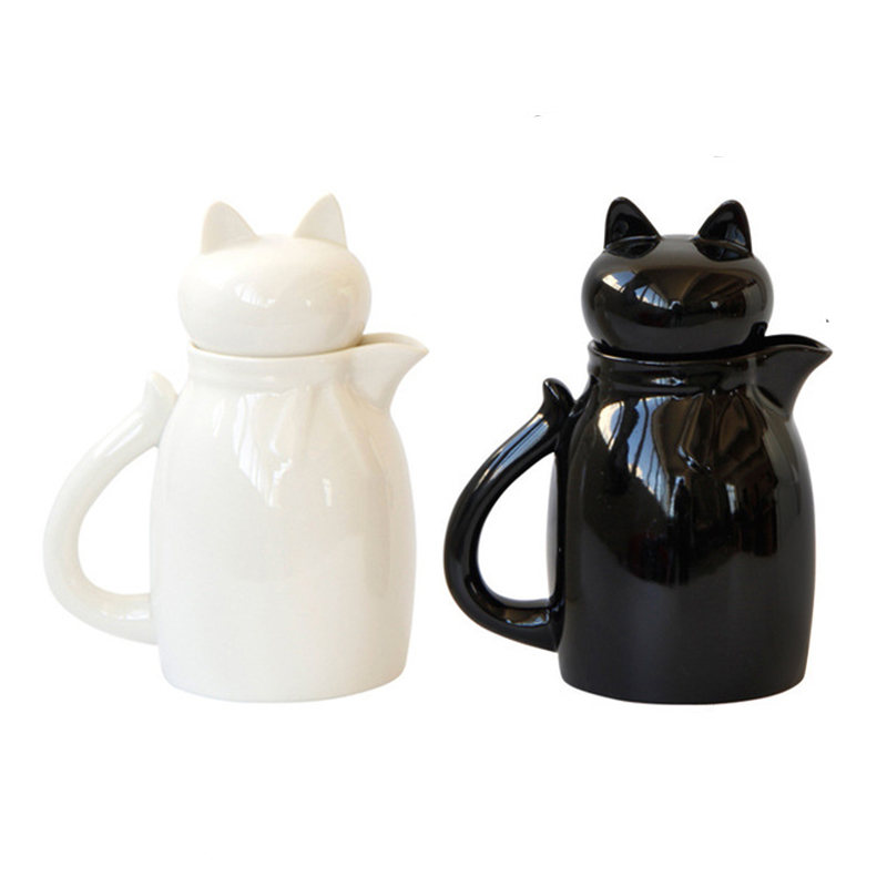 Cartoon Ceramic Milk Jugs With Lid Lovely Cat Milk Cream Cup Coffee Creamer Latte Art Pitcher Kitchen Coffee Accessories