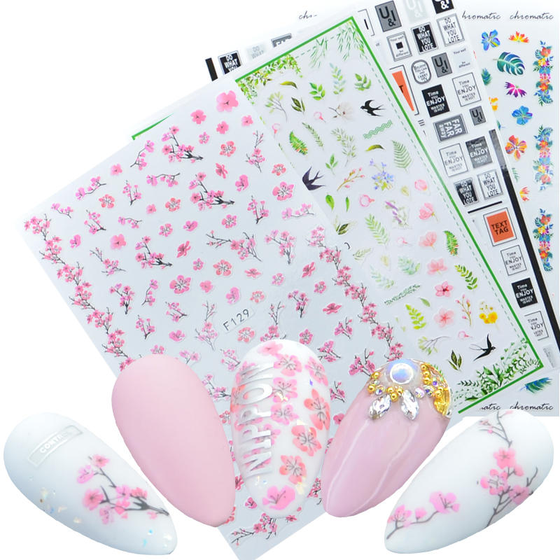 1 Sheet Beautiful Sakura Cherry Blossoms Flower Butterfly Designs Adhesive Nail Art Stickers Decorations DIY Tips