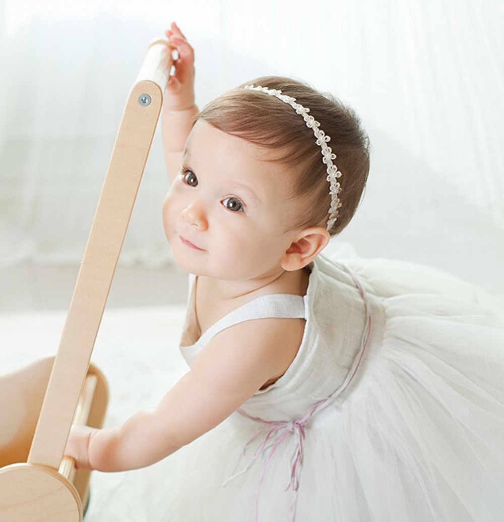 1PCS/3PCS Set Baby Girls Princess Lace Flowers Diamond Pearl Headbands Elastic Hairbands Drop Shipping