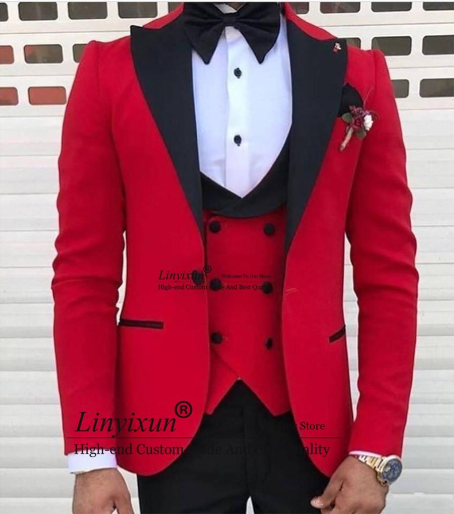 Latest Design One Button Red Wedding Men Suits 2020 Peak Lapel Three Pieces Business Groom Tuxedos (Jacket+Pants+Vest)