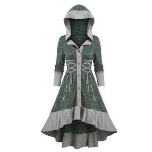 Women's Vintage Single Breasted Patchwork Hooded Slim Ruffles Mid-Calf Dress Retro Casual Cotton Blend Plus Size Dresses