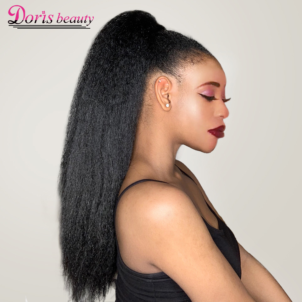 Hair-Extensions Yaki Ponytail Drawstring Afro Kinky Beauty Synthetic Women for Doris