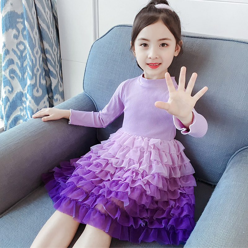 Girl Gradient Dress Princess Kids Wedding Birthday Baby Girl Stylish Dress Colorful Rainbow Puffy Tulle Ball Gowns Prom Party