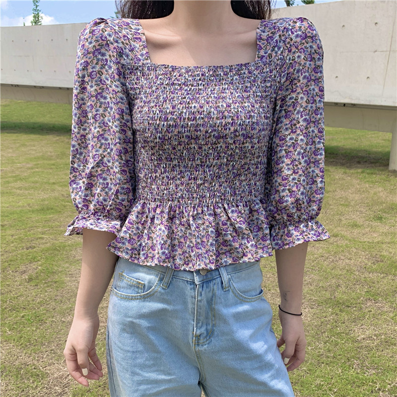 Print Flower Chiffon Shirt Summer Square Collar Ruffles Stretchy Vintage Fairy Blouses Women Crop Tops For Girls