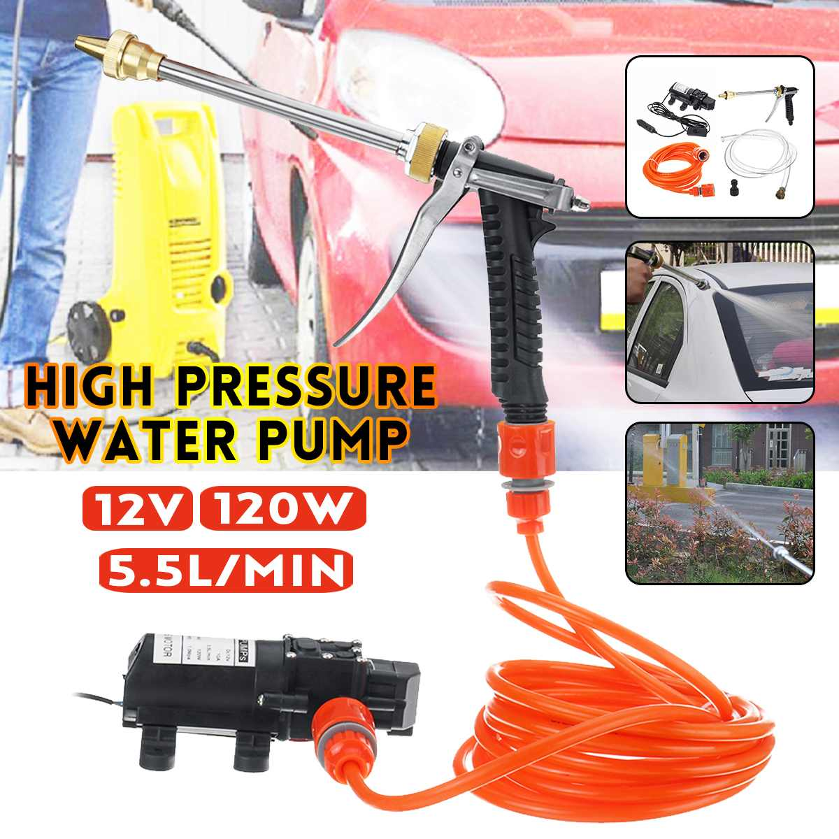 12V 120W Car Washer Pump High Pressure Car Electric Washer Wash Pump Set Portable Auto Washing Machine Kit Washer Sprayer