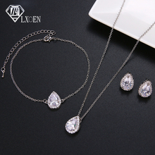 Three Pcs Necklace Bracelet and Earrings Sets for Women Wedding Nigerian Water Drop Zirconia Jewelry Sets Bridal Jewelry Set