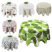 Round Tablecloth Dust-Cover Home-Decor Cotton Linen Nordic-Printed Kitchen White 150cm