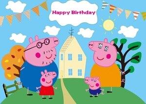 125x80 см Свинка Пеппа фон для фотосъемки ткань детский день рождения вечерние тема макет фон украшение подарок для малыша
