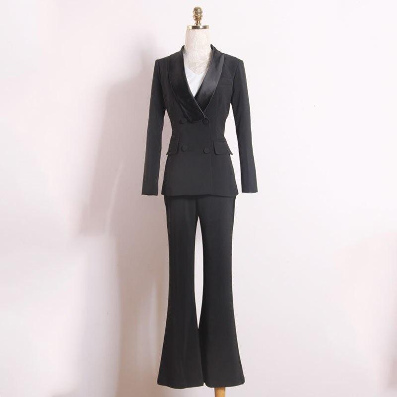 Women's suit fashion slim women's suit two piece suit blazer with slacks trousers women's business casual professional wear set - 2