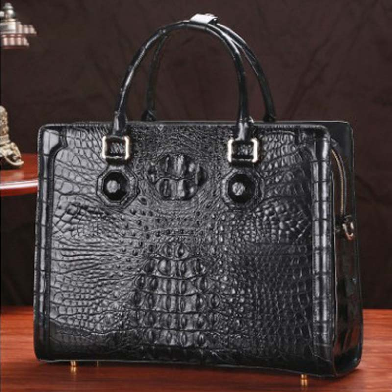LINSHE Crocodile  Men  Handbag  Business  Genuine Leather  Cross Section  Worn  Laptop Bag  The Large Capacity  Men's Bags