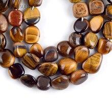 Pierre naturelle Jades jaune, Tige irrégulière, perles amples pour la fabrication de bijoux 8-10mm, accessoires de Bracelet Diy 15