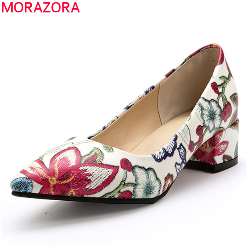MORAZORA 2020 big size 33-46 fashion women pumps thick heels pointed toe ladies shoes 3 colors shallow single shoes