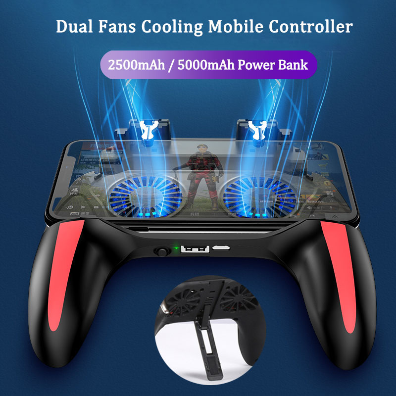 H10 PUBG Mobile Controller With Double Fan Cooling For Iphone Ios Android Phone Game Pad Fire With 2500mah / 5000mah Power Bank