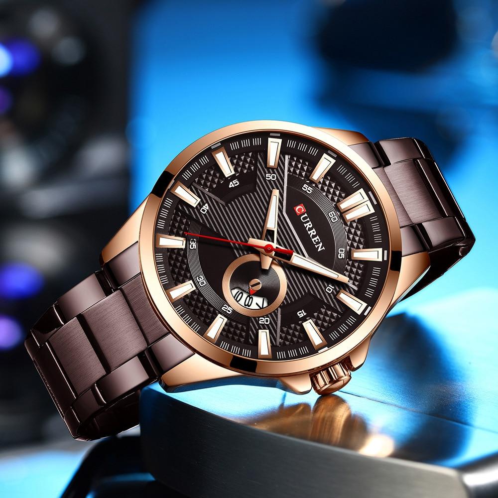H970df8ba77e444b49aed975a0672f4aej New Stainless Steel Quartz Men's Watches Fashion CURREN Wrist Watch Causal Business Watch Top Luxury Brand Men Watch Male Clock