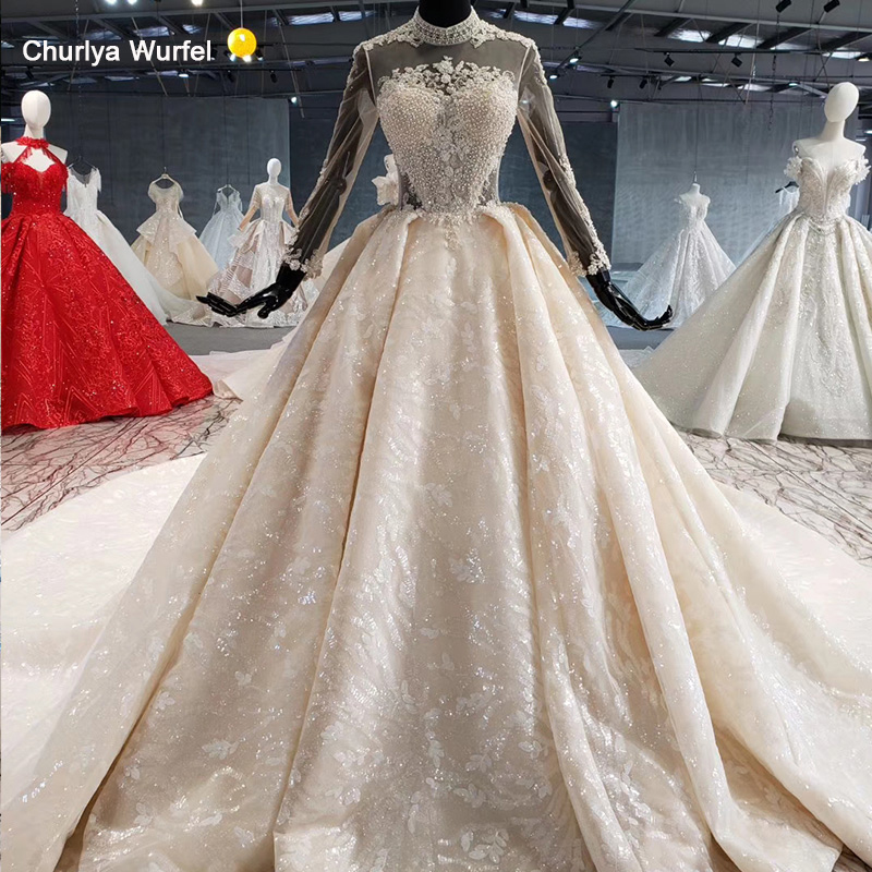 HTL991 Illusion Pearl Button Women Wedding Dress Applique Plus Size Wedding Dress Cristal High Neck With Pearl Свадебное Платье