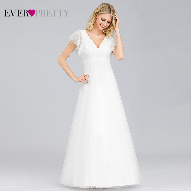 Ever Pretty Simple Boho Wedding Dresses A-Line Double V-Neck Embroidery Elegant Lace Bride Gowns Gelinlik Vestido De Noiva 2019