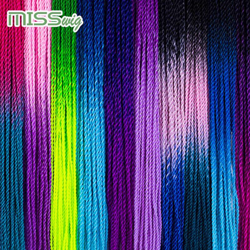 ミスかつらオンブル Senegalese ツイスト髪かぎ針組紐 24 インチ 30 ルーツ/パック合成編組毛女性グレー、ブルー、ピンク、仲間