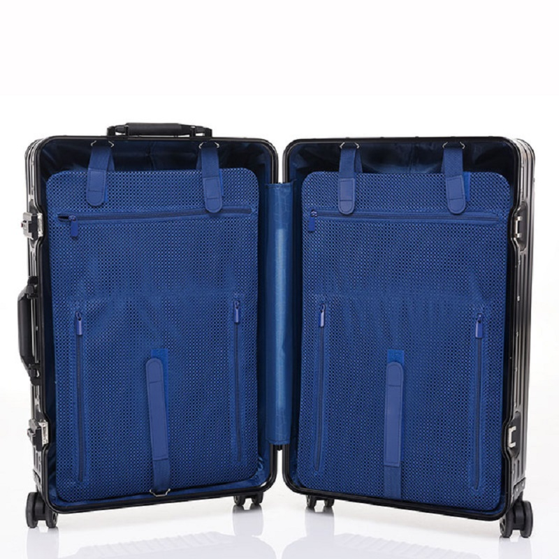 High level 100% Aluminum-magnesium alloy 20/24/26/29 inch rolling luggage business travel suitcase aluminum spinner trolley bag