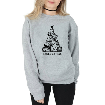MERRY CATMAS Christmas women fashion cute graphic tree graphic slogan sweatshirt tumblr hipster vintage pullover tops- L282 woven tape side heathered graphic pullover